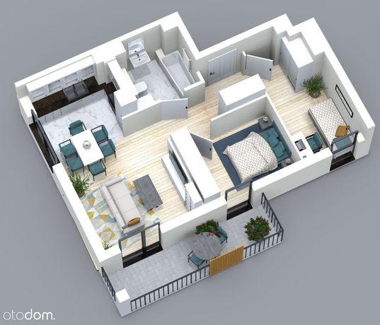 Trzypokojowe mieszkanie 49,70m2 z balkonem ok. 9m2