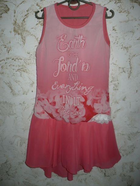 Платье коралловое летнее 8-9 лет Италия