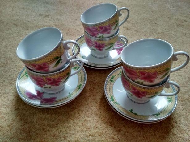 Фарфоровый набор чашек для кофе з цветками Порцеляновий набір чашок