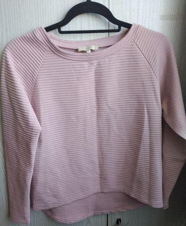 Bladoróżowa - pudroworóżowa bluzka z długim rękawem - rozmiar S