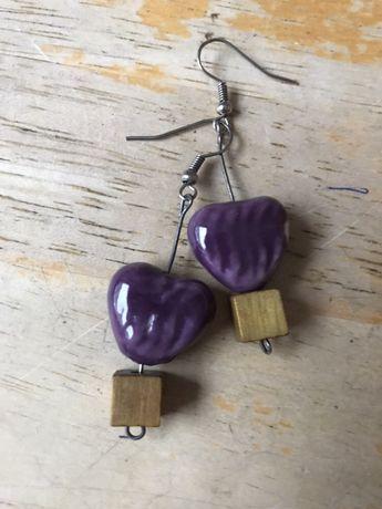 Kolczyki drewniano ceramiczne hand made serduszko serce