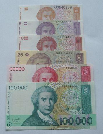 Banknoty CHORWACJA - Z PACZKI BANKOWEJ - Zestaw Kolekcjonerski