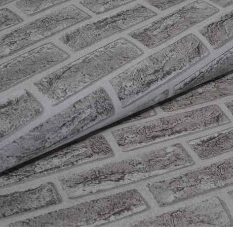 Обои для стен шпалери вологостійкі під цеглу сірі бумажные влагостойки