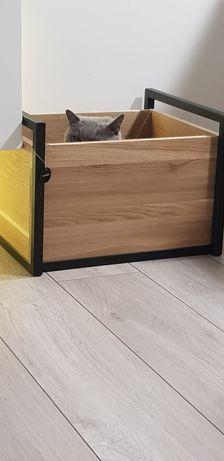 Skrzynka kwietnik legowisko dla kota domek pudełko loft metal dąb