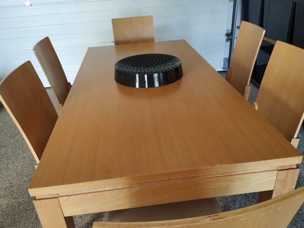 Mesa em Faia + 6 cadeiras ( tudo madeira maciça) em muito bom estado