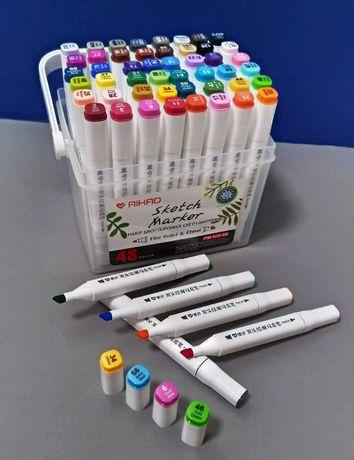 Скетч маркеры Aihao 48шт в контейнере для скетчинга, фломастери
