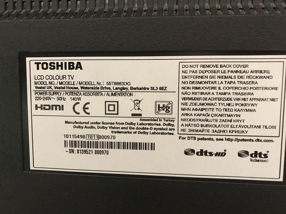 Telewizor Toshiba 55T6863DG uszkodzony Tarnobrzeg - image 1