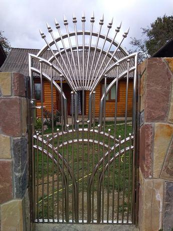 Брама, ворота, фіртка, огорожа з нержавіючої сталі, нержавійки