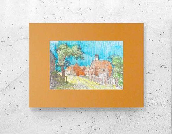krajobraz grafika retro, wieś plakat A3, obrazek z pejzażem wiejskim