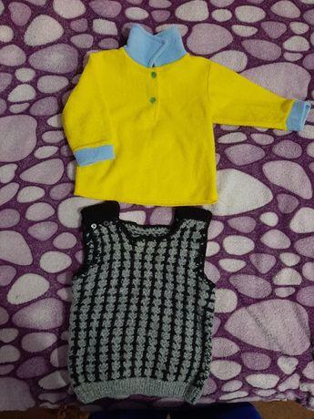 Кофточка кофта и жилетка на мальчика на 1 - 1.5 года