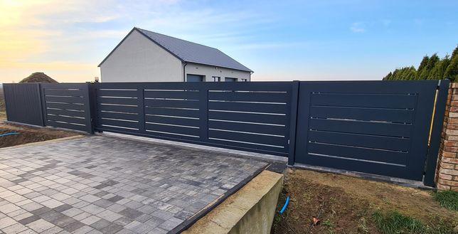 Ogrodzenie, płot nowoczesne z aluminium brama przesuwna.