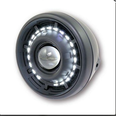 Reflektor lampa motocyklowa czarna okrągła Led cyclops soczewka + led