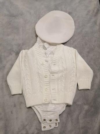 Zestaw body+sweter dla chłopca z czapeczką, 62