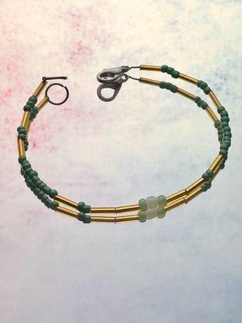 Złoto zielona bransoletka handmade