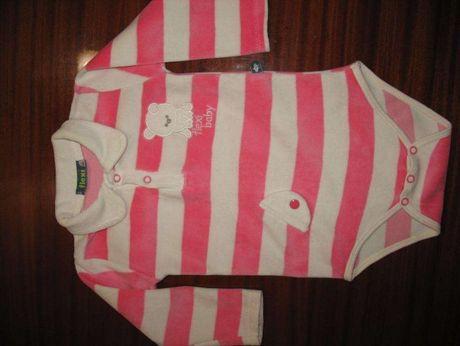 Боди велюр на кнопках для девочки 9-12 месяцев (Польша).