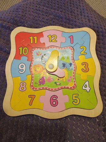 Деревянные часы пазлы, развивающие игрушки