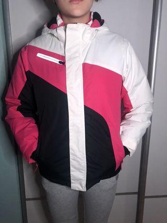 Детская горнолыжная курточка розовая белая черная, р.140-146,10-11лет