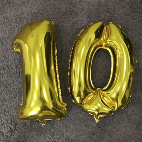 Фольгированная цифра 10 золото