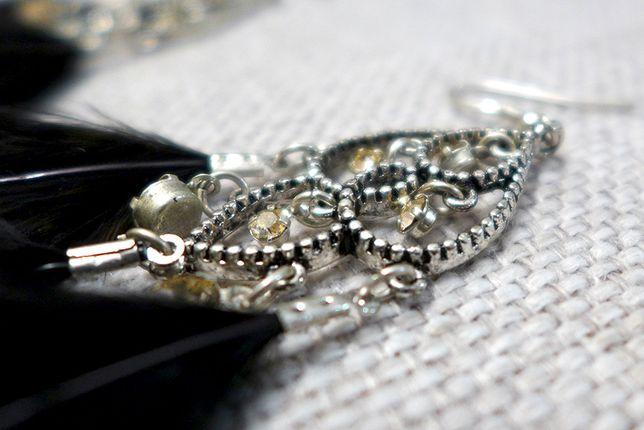 Kolczyki piękne wieczorowe biżuteria eleganckie duże czarne diamenty