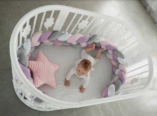 Детская кроватка трансформер 9 в 1 круглая овальная