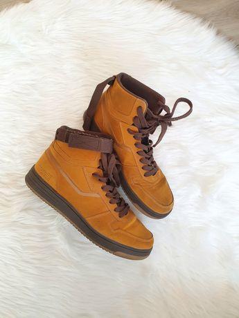 Buty męskie zimowe sneakersy za kostkę camel brązowe zamszowe