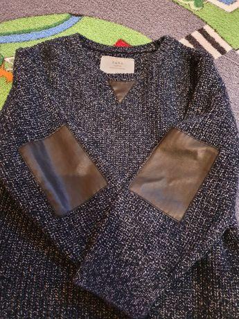 Sweter sweterek pulower ZARA chłopiec 104 stan idealny eko skóra łaty
