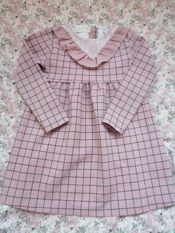 Zara piękna sukienka różowa z falbanką 104
