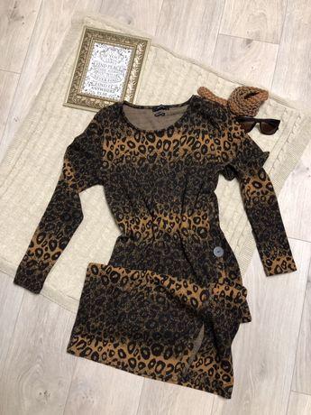 Платье миди, леопардовый принт