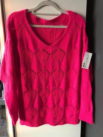 Sweterek neonowy róż XL