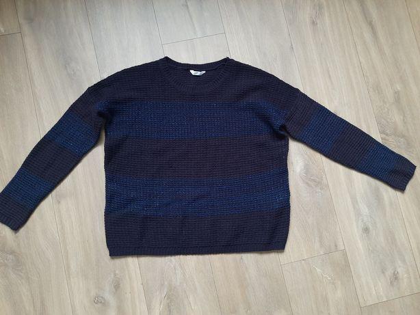 Sweter oversize granatowo-niebieski błyszcząca nitka 36, S