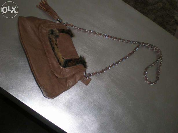 Mala em pele, carteira feita à mão e bolsa pequena