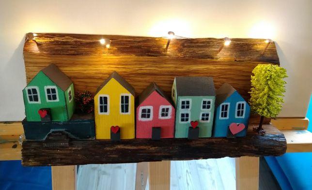 Prezent domki dekoracyjne drewniane lampa led