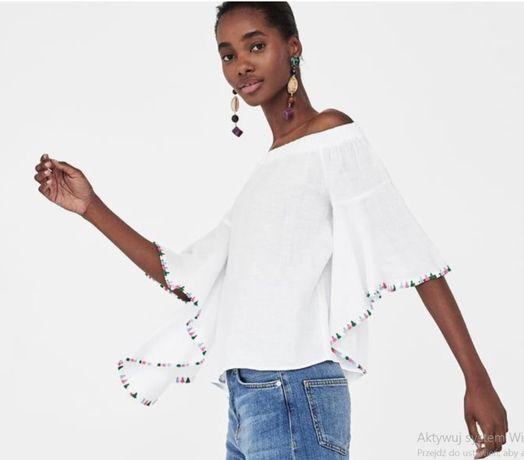 Nowa biała bluzka Zara XS lniana