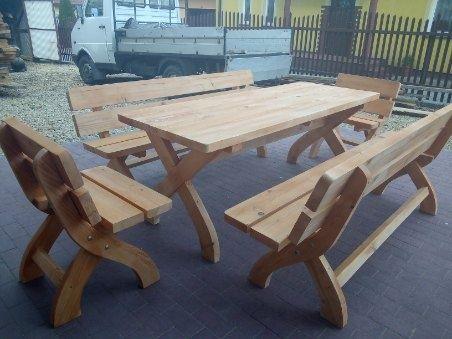 Biesiadny Drewniany Komplet Mebli Ogrodowych (Stół, 2xŁawka, 2xFotel)