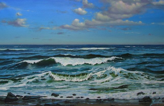 Картина маслом. Море 70 х 45 см. Живопись. Воинов Роман