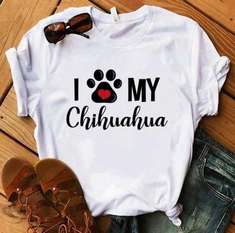 Koszulka bluzka t-shirt i love my chihuahua S-XXL
