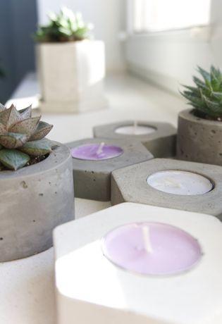 Heksagonalny świecznik z betonu architektonicznego