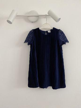 Темно синее платье с кружевом lindex 92 на 1,5-2 года