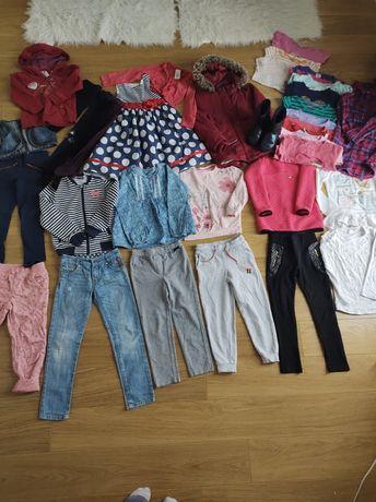 Paka zestaw ubranek 110/116 spodnie bluzki kurtka sukienka
