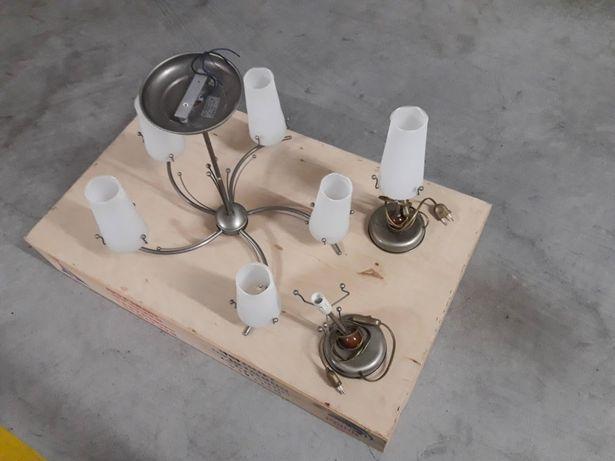 Candeeiro tecto + candeeiros de mesinha de cabeceira