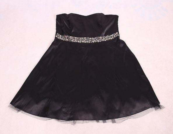 Czarna sukienka tuba gorsetowa elegancka koraliki 50 52
