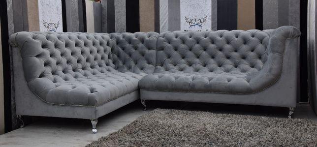 Stylowa sofa narożna Chesterfield Glamour- różne kolory na zamowienie