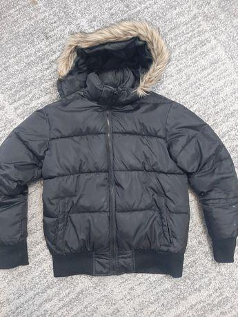 H&M kurtka damska puchowa czarna z kapturem rozmiar M 170cm zimowa