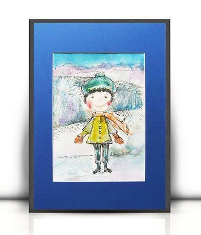 ładny rysunek dla chłopczyka,chłopiec obrazek ręcznie malowany,akwrela