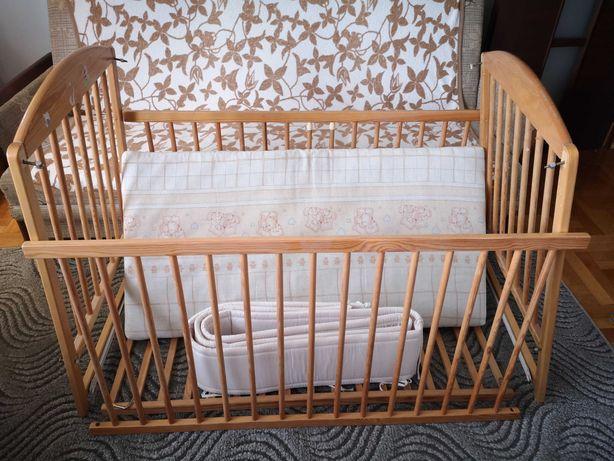 Łóżeczko drewniane dziecięce Drewex pepe 120x60 materac osłonka