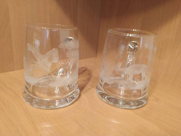 Zestaw 2 kufle szklane grawerowane stare mysliwski