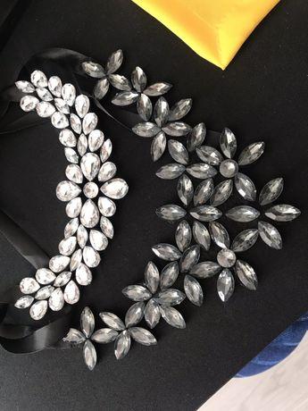 Kolia kryształki kamienie wstążka czarna regulowane wiązanie