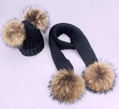 Komplety czapka + szalik z naturalnymi pompon dla dzieci i dorosłych