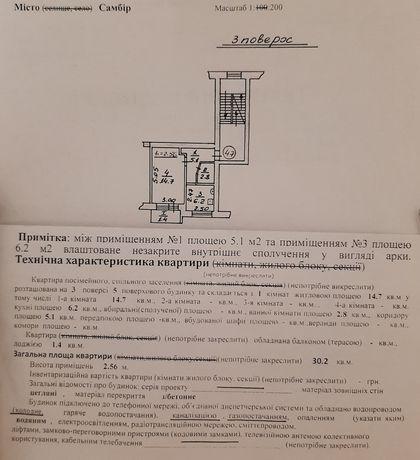 Продається однокімнатна квартира в м.Самбір!!!