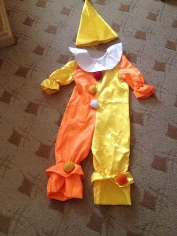 Детский карнавальный костюм. Чиполлино. Петрушка. Клоун. Шёлк.